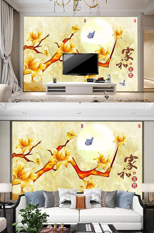 金色室内电视背景墙家和万事兴装饰画-众图网