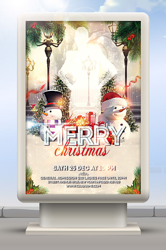 KTV酒吧圣诞海报背景-众图网