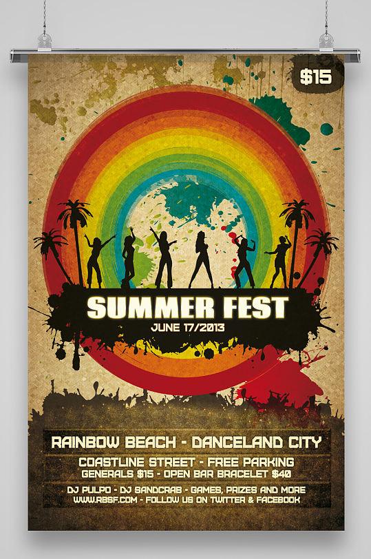 海边沙滩美女海报-众图网