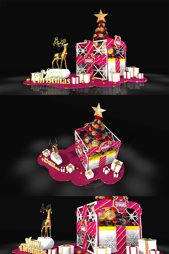 商场大型圣诞节美陈设计PD堆头-众图网