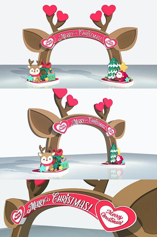 可爱麋鹿拱门PD圣诞节美陈设计