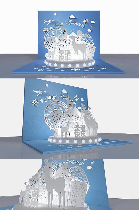 圣诞节创意折纸橱窗美陈PD设计-众图网