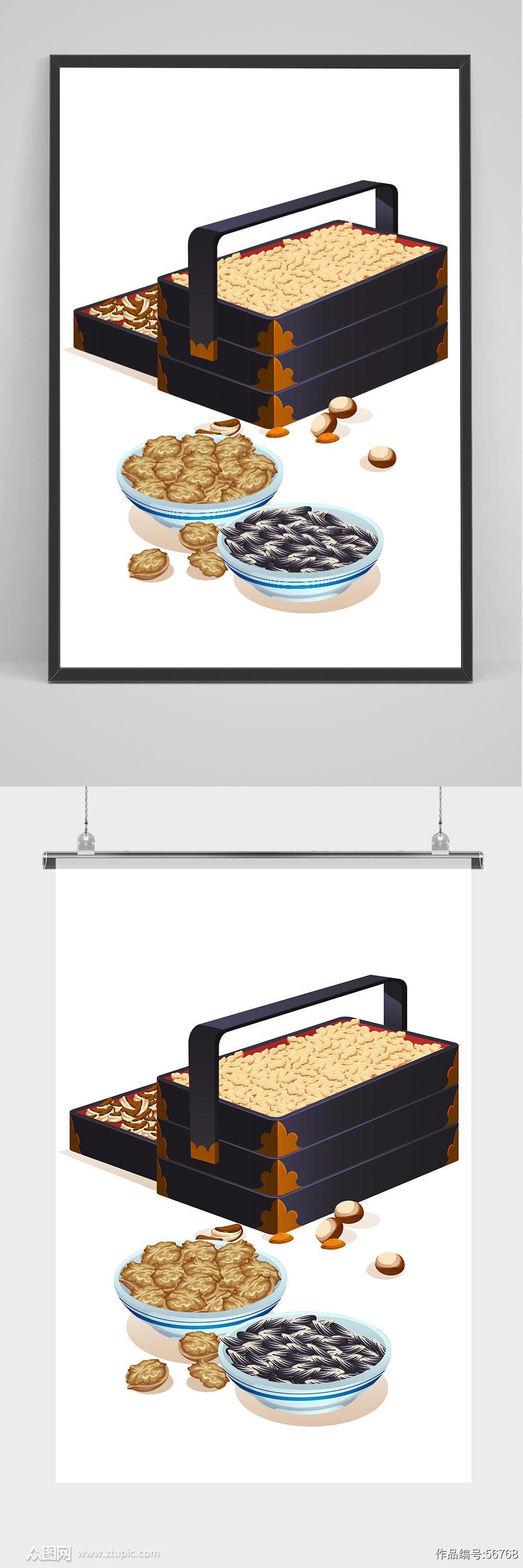 中国风春节糖饼礼盒插画素材