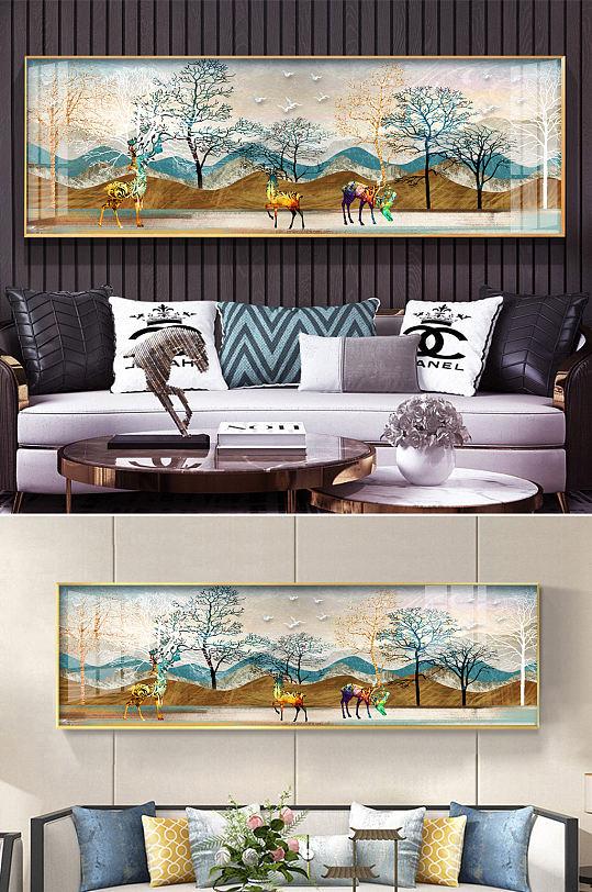 新中式抽象山水麋鹿装饰画-众图网