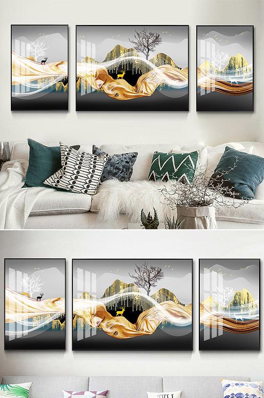 新中式山水金色麋鹿装饰画-众图网