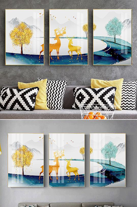 新中式金色麋鹿山水装饰画-众图网