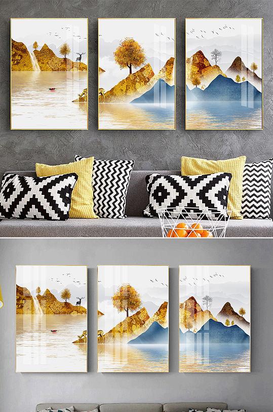 金色山水新中式麋鹿装饰画-众图网