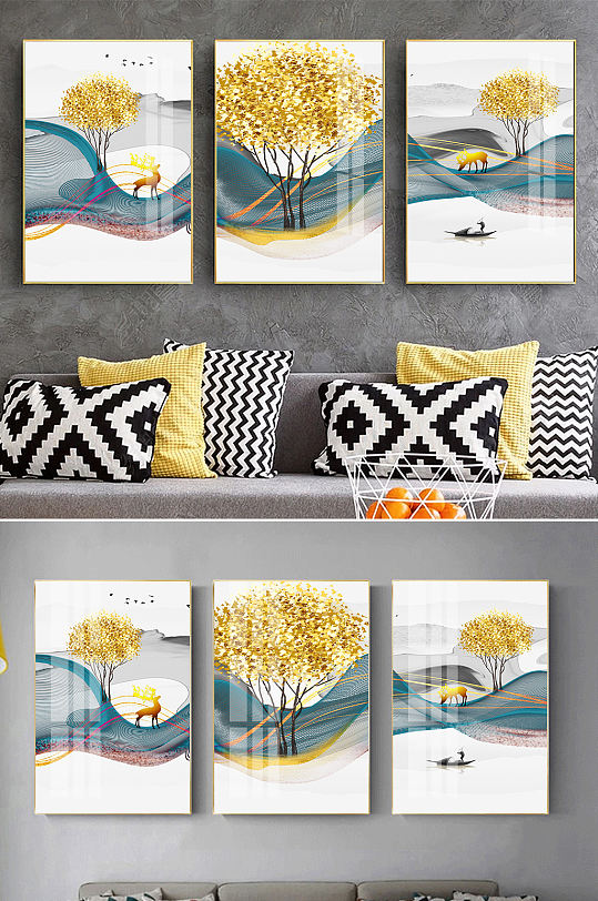 金色麋鹿新中式山水装饰画-众图网
