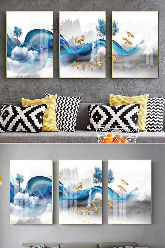 新中式线条山水麋鹿装饰画-众图网