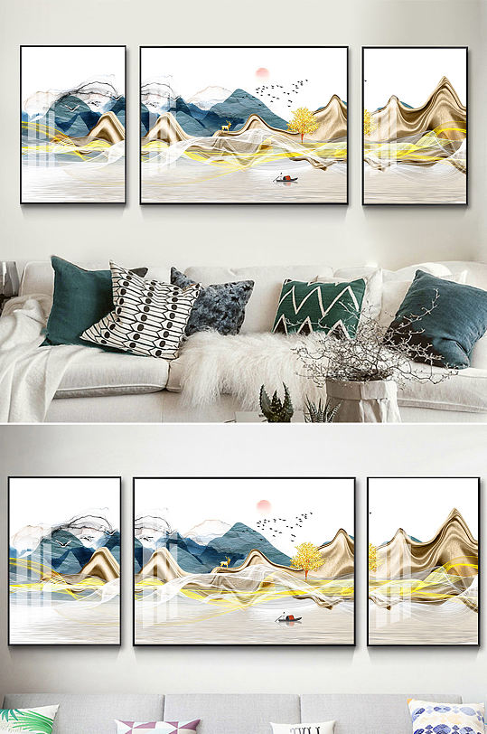 金色山水新中式线条装饰画-众图网