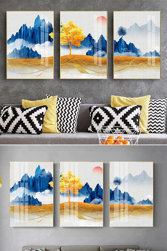 蓝色山水新中式金色装饰画-众图网