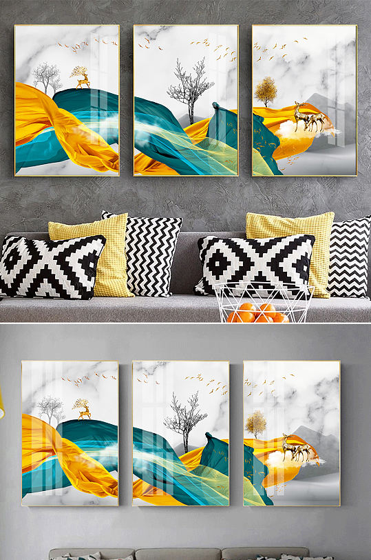 新中式抽象飘带麋鹿装饰画-众图网
