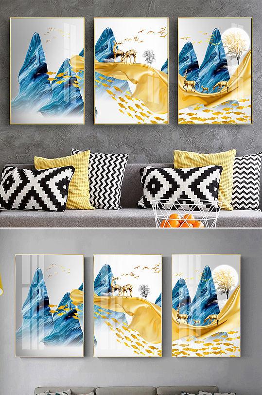新中式抽象麋鹿飘带装饰画-众图网