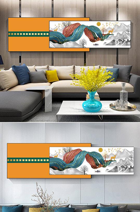 新中式水墨山水飘带装饰画-众图网