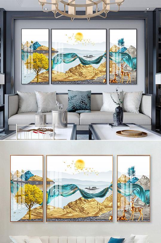 新中式山水飘带麋鹿装饰画-众图网