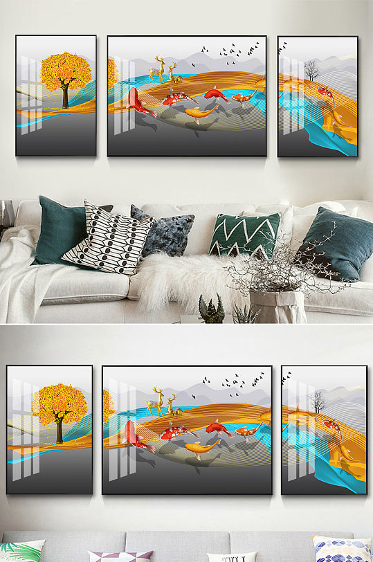 新中式金色麋鹿金鱼装饰画-众图网