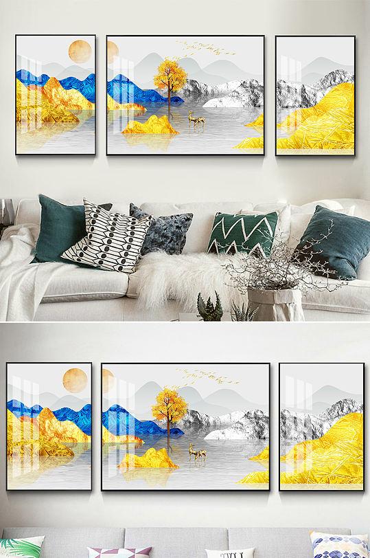 新中式金色山水麋鹿装饰画-众图网