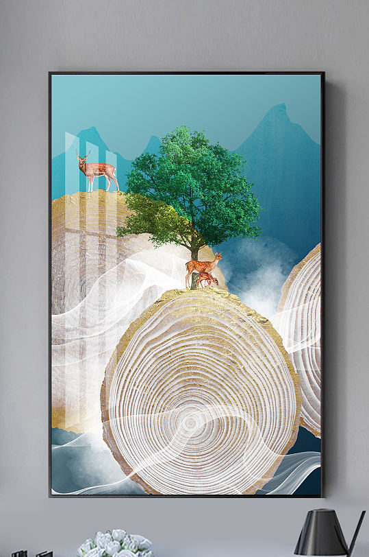 新中式山水年轮麋鹿装饰画-众图网