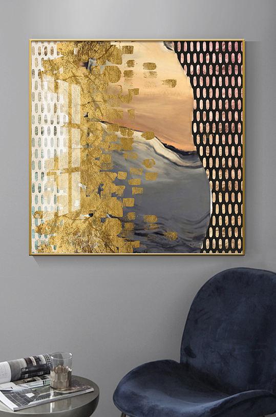 现代抽象几何金箔装饰画-众图网