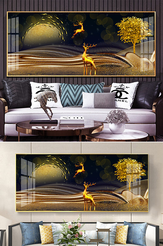 现代轻奢金色麋鹿发财树晶瓷装饰画-众图网