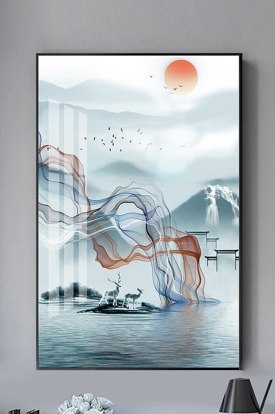 新中式水墨山水麋鹿线条装饰画-众图网