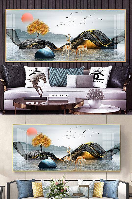 新中式水墨山水金色麋鹿发财树线条装饰画-众图网