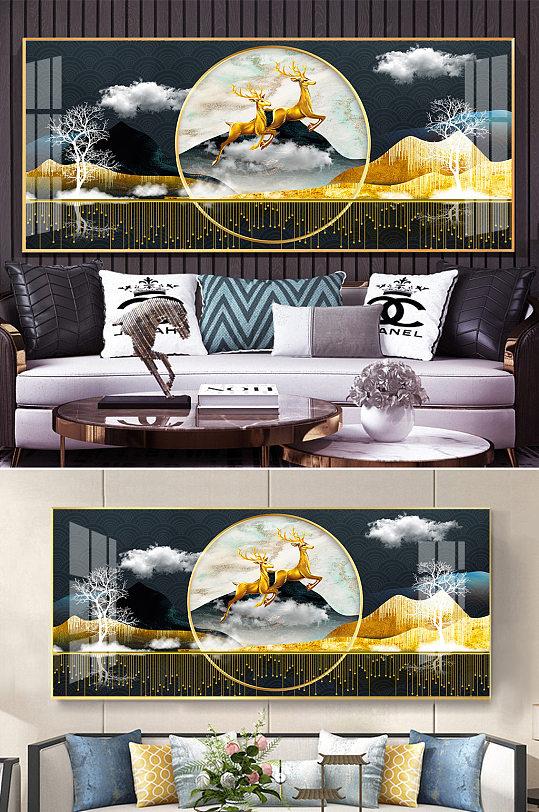 新中式金色山水麋鹿线条晶瓷装饰画-众图网