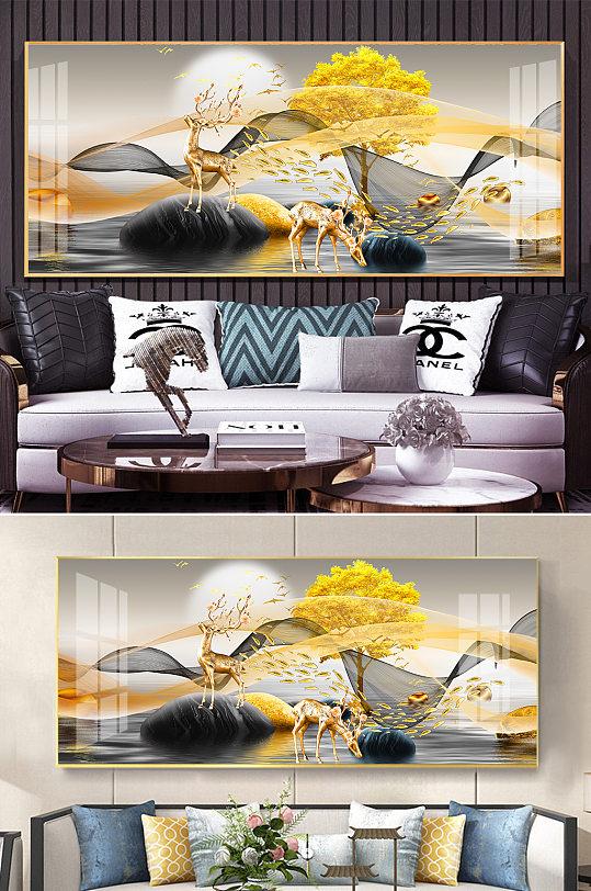 新中式金色抽象线条麋鹿石来运转装饰画-众图网