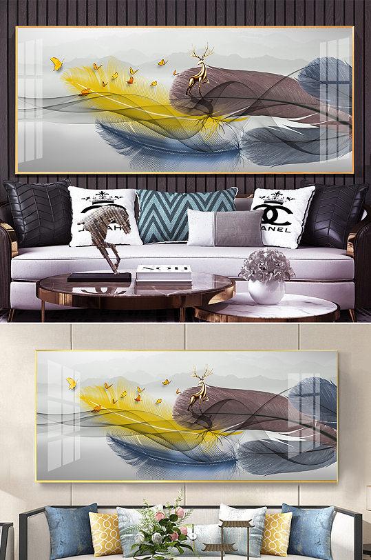 新中式水墨山水金色麋鹿羽毛线条装饰画-众图网