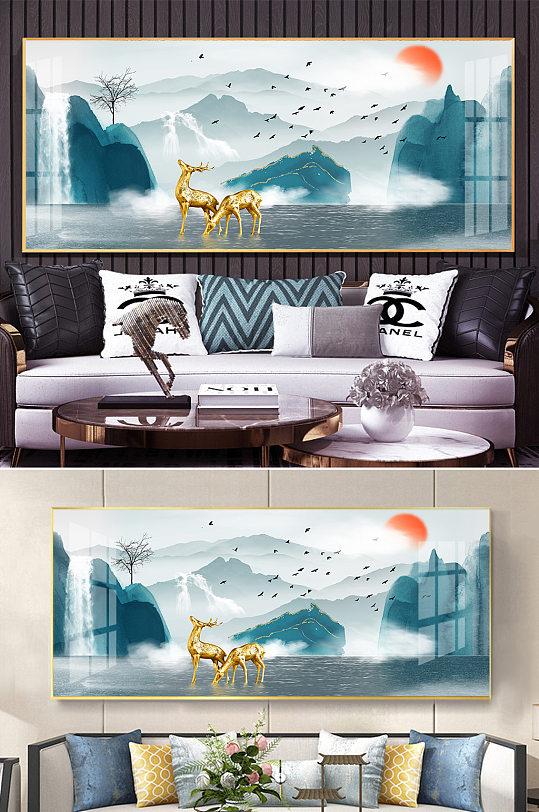 新中式水墨山水金色麋鹿装饰画-众图网