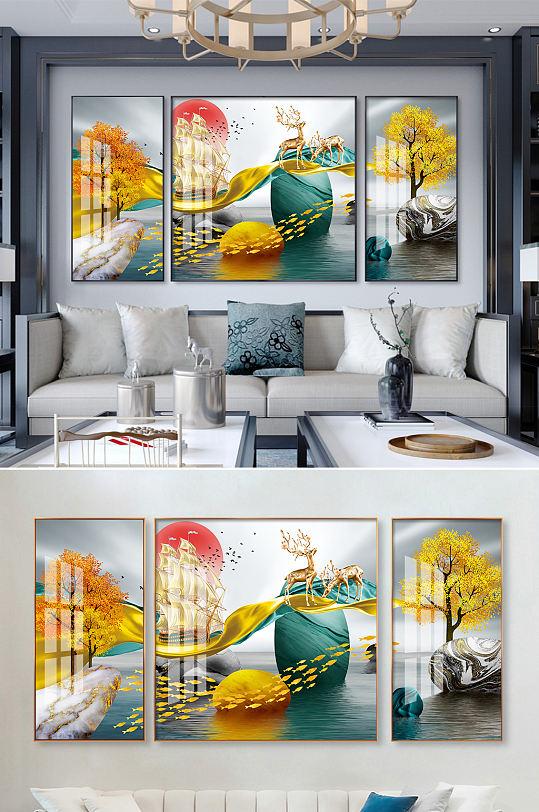 新中式轻奢发财树麋鹿石头飘带装饰画-众图网