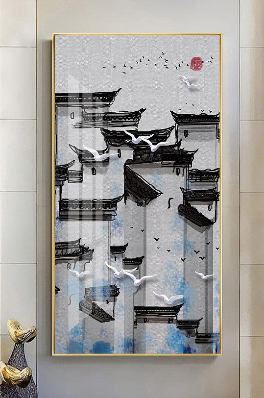 中式水墨徽派建筑飞鸟玄关画-众图网