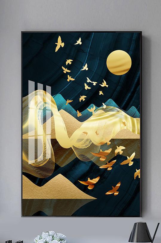 新中式抽象山水金色线条装饰画-众图网