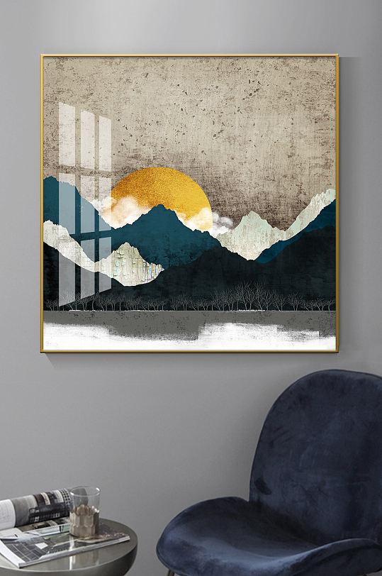 新中式抽象山水纹理装饰画-众图网