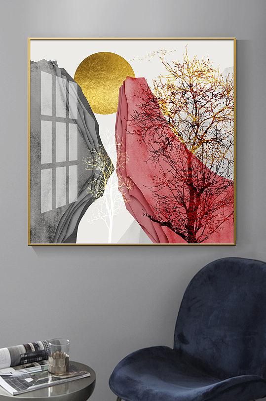 新中式抽象山水金色装饰画-众图网