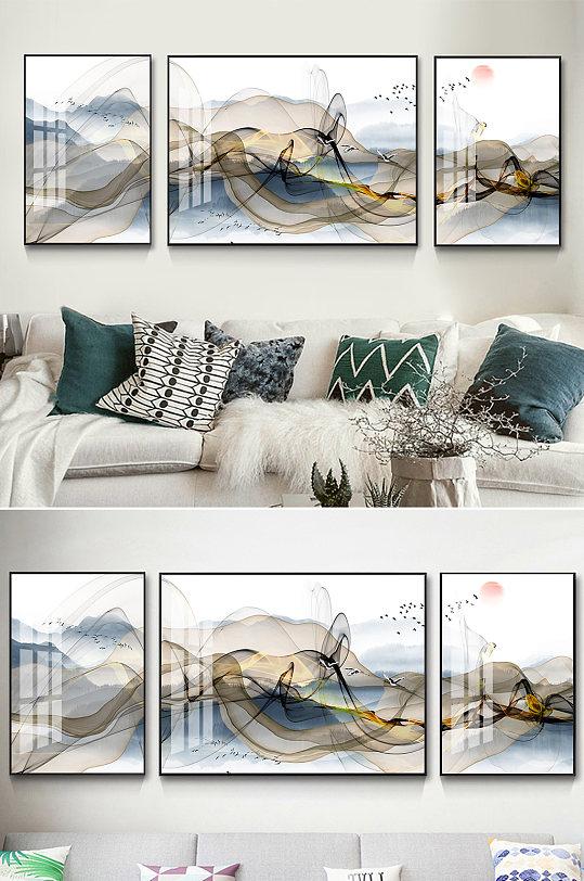 新中式抽象山水线条装饰画-众图网