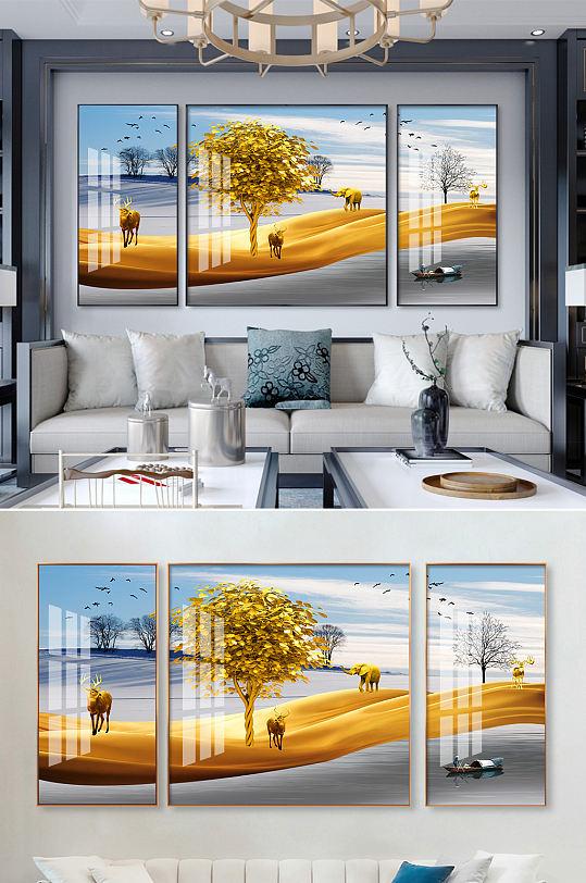 新中式发财树麋鹿装饰画-众图网