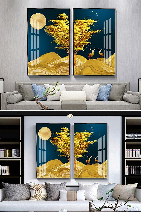 新中式金色飘带麋鹿装饰画-众图网