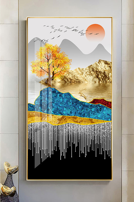 新中式金色山水麋鹿玄关-众图网