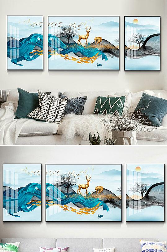 抽象飘带新中式麋鹿装饰画-众图网