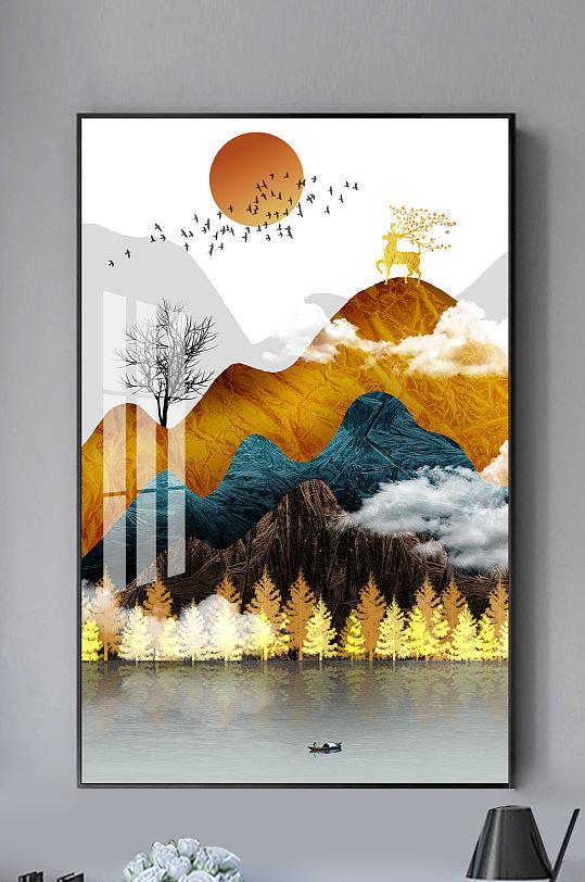 金色山水麋鹿新中式装饰画-众图网