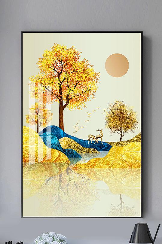 金色发财树麋鹿中式装饰画-众图网
