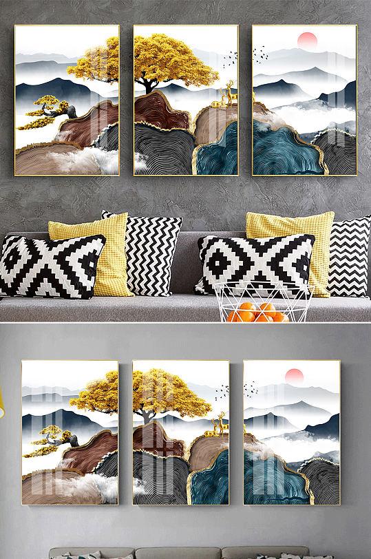 水墨山水麋鹿新中式装饰画-众图网
