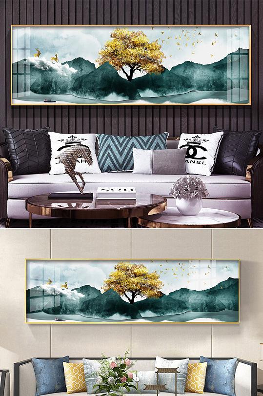 新中式抽象山水麋鹿玄关-众图网