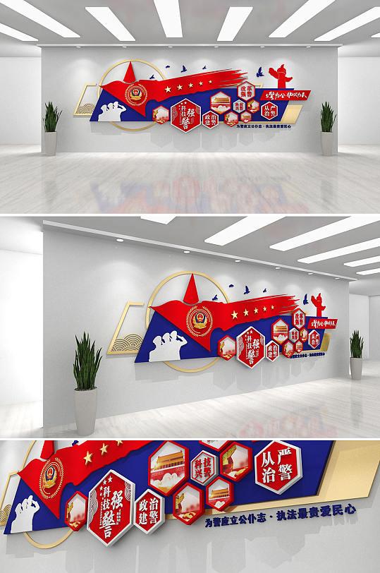 飘扬五角星警营公安科技强警文化墙警察特警文化墙-众图网