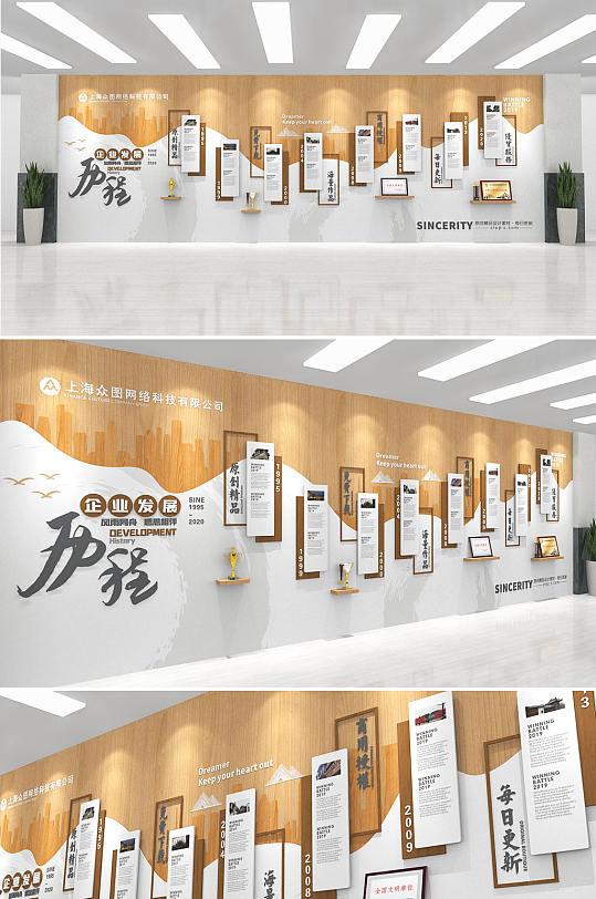 创意中式时尚木纹企业发展历程文化墙宣传墙-众图网