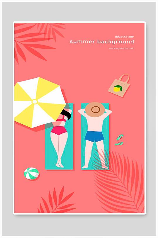 夏日沙滩海报展板-众图网