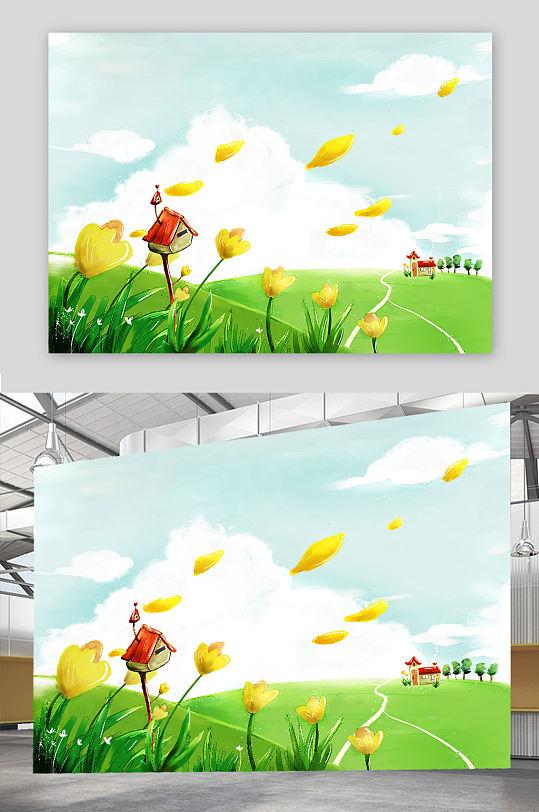 水彩插画背景素材-众图网