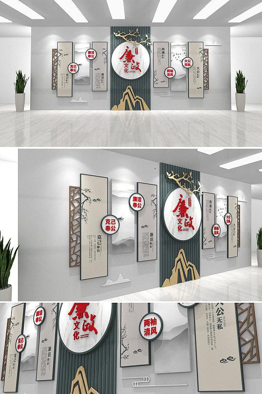 中国风水墨党建木纹廉政文化墙-众图网