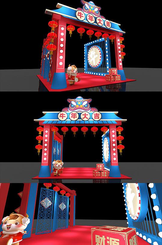 2021年国潮文化年货集市年货节 新年牛年春节美陈拱门 亮化造型展位设计-众图网